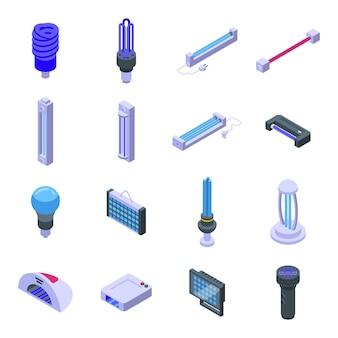 Uv-lampensymbole gesetzt. isometrischer satz von uv-lampenvektorikonen für das webdesign lokalisiert auf weißem hintergrund