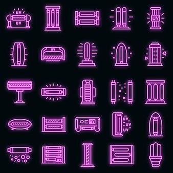 Uv-lampensymbole gesetzt. umrisse von uv-lampen-vektorsymbolen neonfarbe auf schwarz