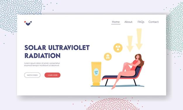 Uv-strahlung, solar-ultraviolett-landing-page-vorlage. weiblicher charakter tan auf chaiselongue zum schutz der haut mit spf body lotion gegen gefährliche sonnenstrahlen, gesundheitswesen. cartoon-vektor-illustration