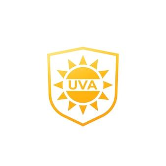 Uva-schutzsymbol, sonnen- und schildvektor