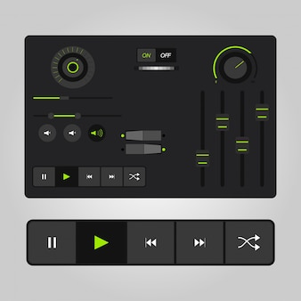 Ux-audio-player-vorlagen in vektor mit design-elemente und symbole