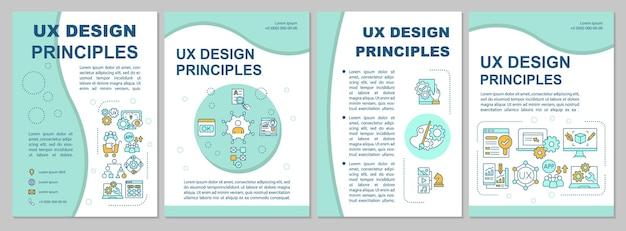 Ux-design-prinzipien-broschürenvorlage. optisch ästhetische benutzeroberfläche. flyer, broschüre, broschürendruck, cover-design mit linearen symbolen. vektorlayouts für präsentationen, geschäftsberichte, anzeigenseiten