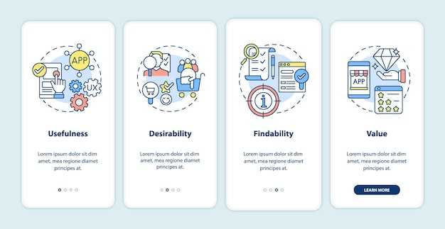 Ux-prinzipien beim onboarding der mobilen app-seitenseite. nützlichkeit, erwünschtheit walkthrough 4 schritte grafische anweisungen mit konzepten. ui-, ux-, gui-vektorvorlage mit linearen farbillustrationen