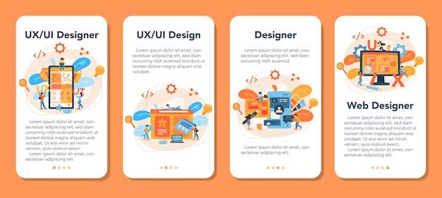 Ux ui designer-banner-set für mobile anwendungen. verbesserung der app-oberfläche für benutzer. modernes technologiekonzept.