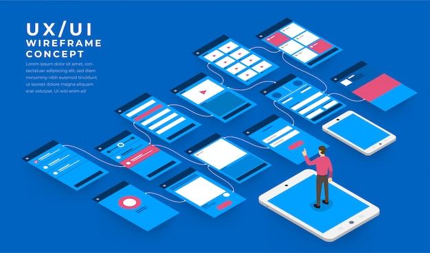 Ux ui-flussdiagramm. s konzept der mobilen anwendung isometrisch. illustration.