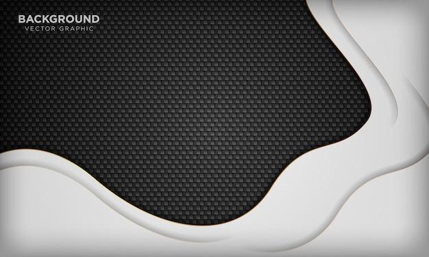 Uxury weißer wellenförmiger überlappungsschichtenhintergrund auf schwarzer textur