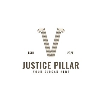 V letter logo law and justice pillar elegante fette geometrische strichzeichnungen