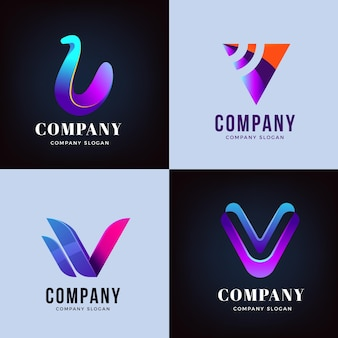 V logo design kollektion