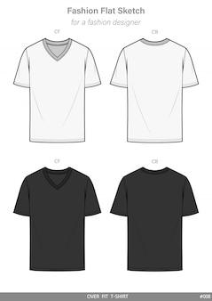 V-neck overfit t-shirt flache technische zeichnungsvorlage