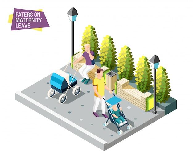 Väter auf mutterschaftsurlaub gehen im stadtpark mit neugeborenen, die in ihrer isometrischen entwurfskonzeptillustration des kinderwagens schlafen