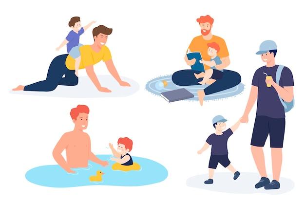Väter spielen, haben spaß miteinander und genießen eine gute zeit mit ihren kleinen kindern