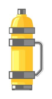 Vakuumflasche mit kappe, griff lokalisiert auf weißem hintergrund