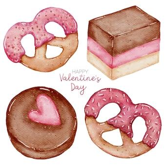 Valentine aquarell element sammlung