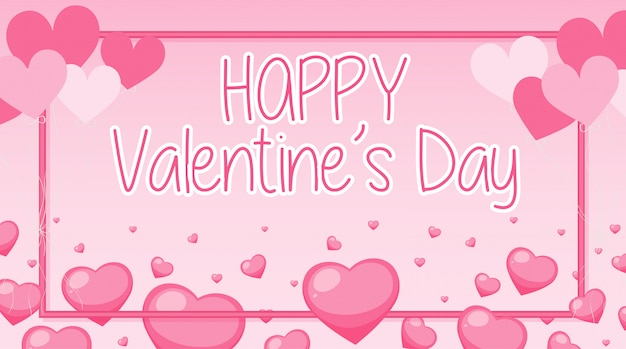 Valentine banner mit rosa herzen und rahmen