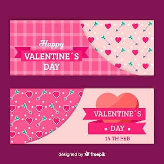 Valentine Banner Pfeile und Herzen