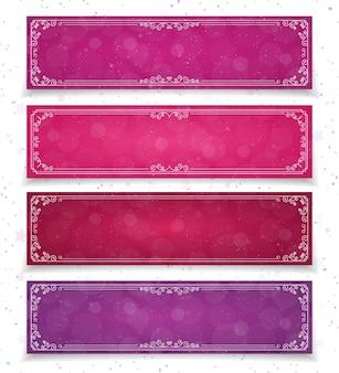 Valentine banner set verschiedene farben schön