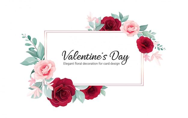Valentine blumenrahmen. blüht dekorationsillustration von rosafarbenen blumen burgunders, blätter, niederlassungen