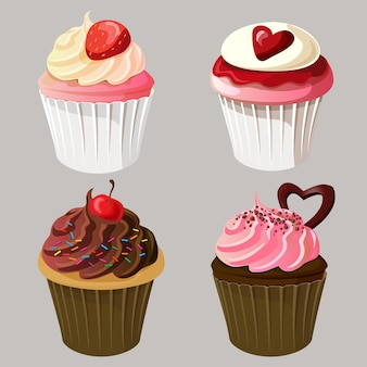 Valentine cupcakes icon set