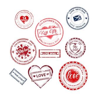 Valentine day gift card-feiertags-liebes-aufkleber-stempel-sammlung