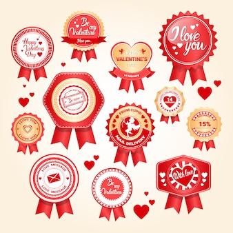 Valentine day gift card-feiertags-liebes-ikonen-stempel-satz