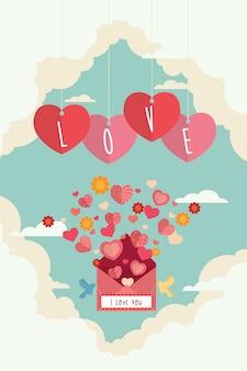 Valentine day-liebesbrief und -herzen, die auf den himmel fliegen, entwerfen hintergrund