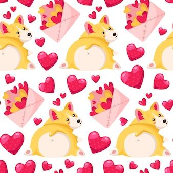 Valentine day-nahtloses muster - karikaturumschlag mit herzen, corgiwelpe