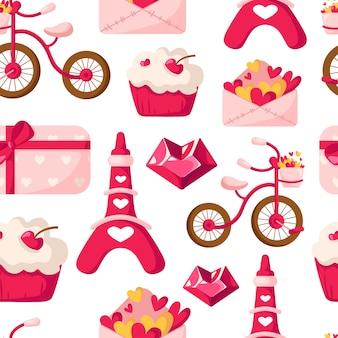 Valentine day-nahtloses muster - karikaturumschlag mit herzen, kleinem kuchen oder nachtisch, eiffelturm, fahrrad