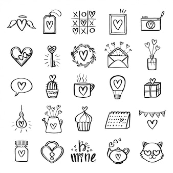 Valentine day related icon set.