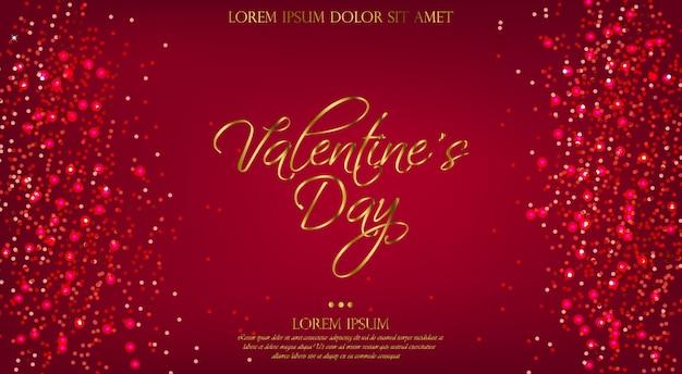 Valentine day roter hintergrund mit funkeln