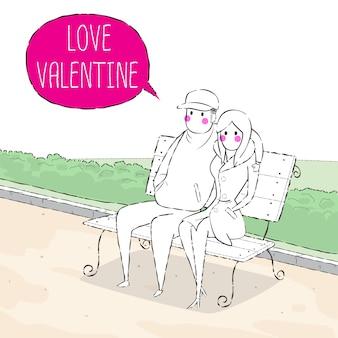 Valentine, der im park sitzt