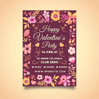 Valentine flyer vorlage mit blumenmuster