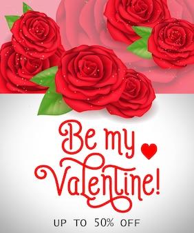 Valentine fünfzig prozent aus schriftzug