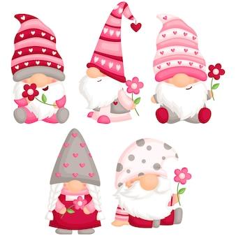 Valentine gnome hält blume