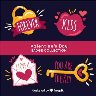Valentine hand gezeichnete karte pack