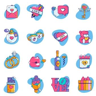 Valentine icon set-elemente