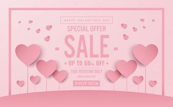 Valentine-Konzept Schock Verkauf Banner Vektor Design
