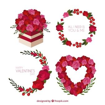 Valentine kranz und blumenstrauß gesetzt