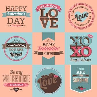 Valentine label und typografie