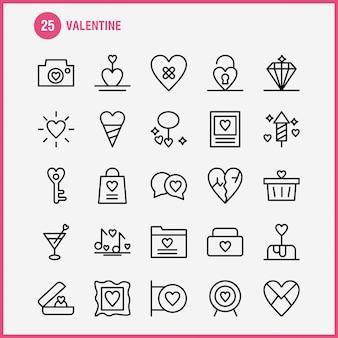 Valentine line icon pack