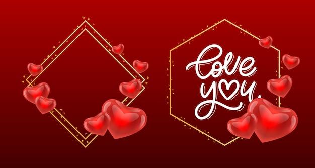 Valentine love you schriftzug im goldenen rahmen
