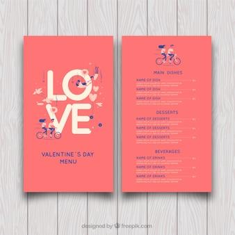 Valentine-menü-design mit liebesbriefen