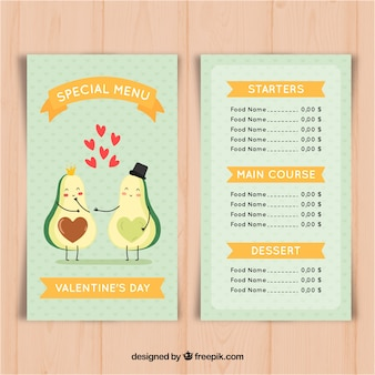 Valentine menüvorlage mit avocado