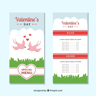 Valentine menüvorlage mit vögeln