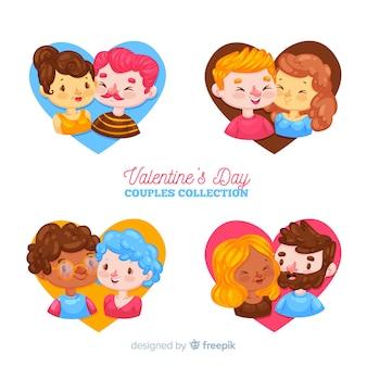 Valentine paare innerhalb der herzsammlung