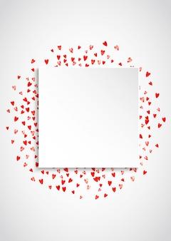 Valentine papierrahmen mit rosa glitzerherzen. 14. februar tag. vektorkonfetti für valentinspapierrahmen. weißes festliches banner mit textur.