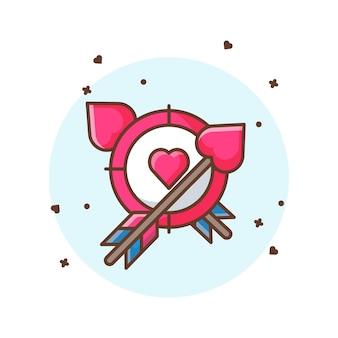 Valentine pfeil und ziel symbol illustrationen. valentine icon concept weiß isoliert.