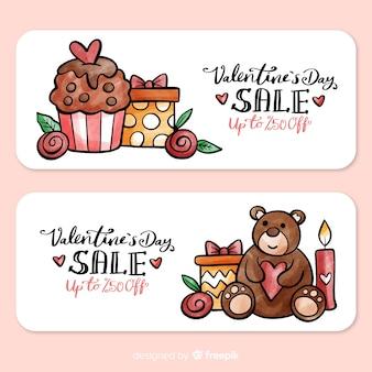 Valentine präsentiert verkaufsfahne