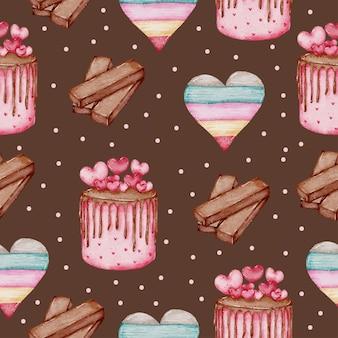 Valentine seamless pattern aquarell