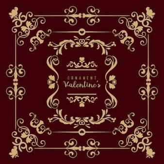 Valentine set mit verschiedenen wirbelnden floralen ornamenten