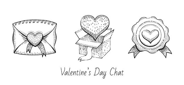 Valentine sketch set. vintage gekritzelikonen.
